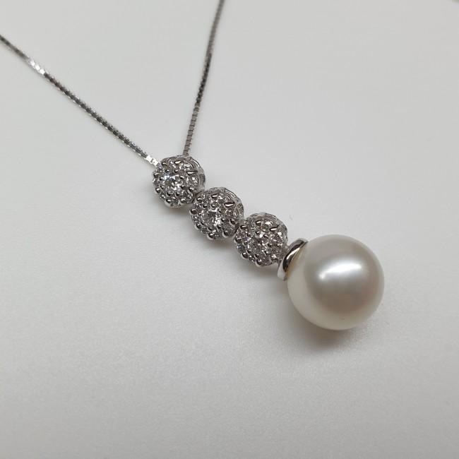 Pendente con perla e brillanti
