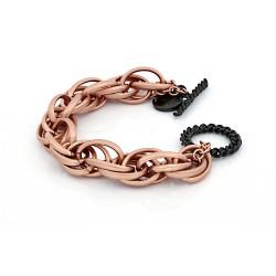 Unoaerre - Bracciale in bronzo rosa e nero