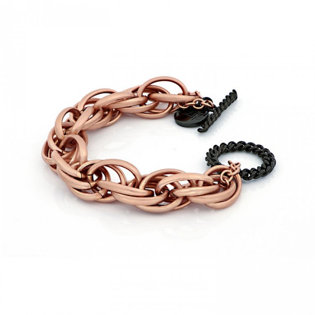 unoaerre-bracciale-bronzo-rosa-nero-catena-corda-finitura-sabbiata-exb4655