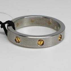 L-Uomo-Anello-acciaio-satinato-e-dettagli-viti-oro-Aneu500-14
