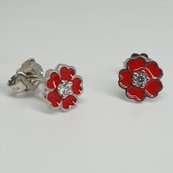 Nanàn-Orecchini-argento-rodiato-fiore-smalto-rosso-e-cristalli-bianchi-Nan0074