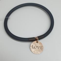 Flo-Bracciale-caucciù-nero-pendente-love-argento-rosato-olsv