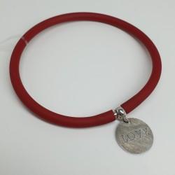 Flo-Bracciale-caucciù-rosso-pendente-love-argento-olsv