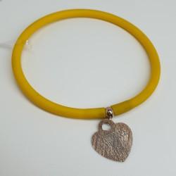 Flo-Bracciale-caucciù-giallo-pendente-amore-argento-rosato-olsv