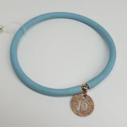 Flo-Bracciale-caucciù-celeste-pendente-D-argento-rosato-olsw