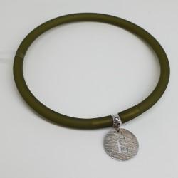 Flo-Bracciale-caucciù-verde-pendente-E-argento-olsw
