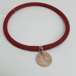 Flo-Bracciale-caucciù-rosso-pendente-L-argento-rosato-olsw