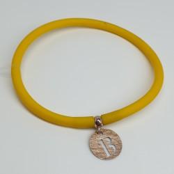 Flo-Bracciale-caucciù-giallo-pendente-B-argento-rosato-olsx
