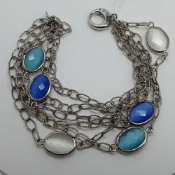 Urigold-Bracciale-argento-multifilo-con-pietre-colorate-blu-turchese-bianco-oopn