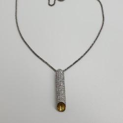 Ottaviani-Collana-lunga-con-pendente-tubolare-cristalli-bianchi-48628