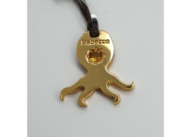 Rebecca-Pendente-bronzo-dorato-octopus-con-pietra-naturale-Bunssr32