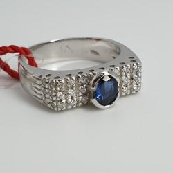 Recarlo-Anello-oro-bianco con-diamanti-zaffiro-A642-bz
