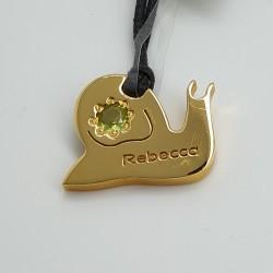 Rebecca-Pendente-bronzo-dorato-lumaca-con-pietra-naturale-verde-Bunssp16