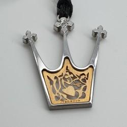 Rebecca-Pendente-corona-acciaio-e-oro-con-cristallo-bianco-Xlbsrd07