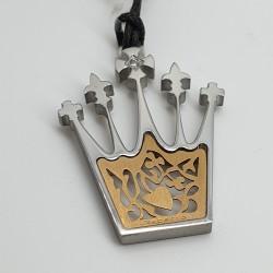 Rebecca-Pendente-corona-acciaio-e-oro-con-cristallo-bianco-Xlbsrd10