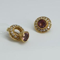 Graser-Orecchini-oro-giallo-con-dischetto-diamanti-removibile-e-tormalina-rosa-fh459aa
