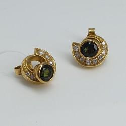 Graser-Orecchini-oro-giallo-con-dischetto-diamanti-removibile-e-tormalina-verde-gr114-504