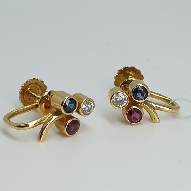 Orecchini diamanti zaffiri e rubini