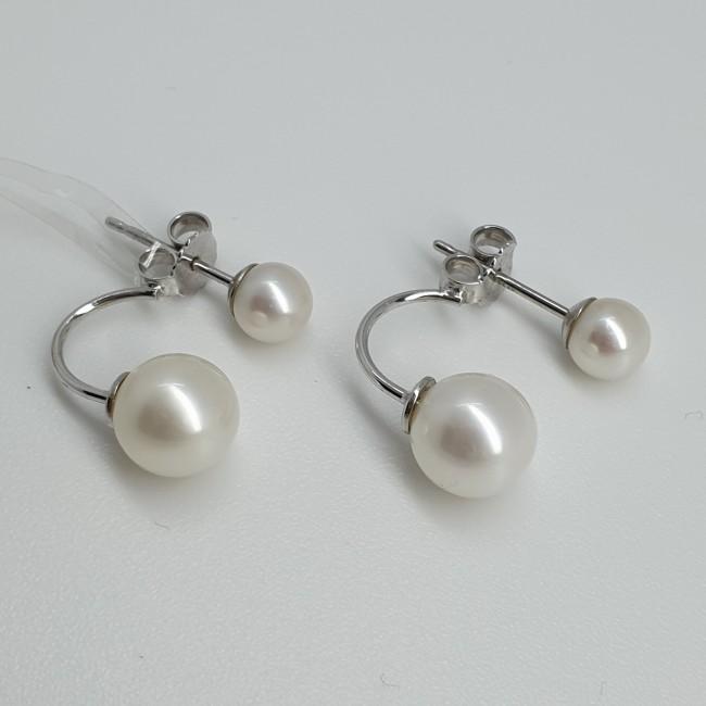 Orecchini oro bianco con perle