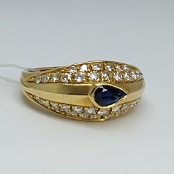 Anello diamanti e zaffiro