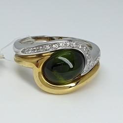 Centoventuno-Anello-oro-giallo-e-oro-bianco-con-tormalina-verde-cabochon-e-diamanti-taglio-brillante-Cu20gbsivo-g1