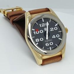 Torpedo-Orologio-uomo-al-quarzo-cassa-acciaio-laminato-oro-cinturino-in-pelle-marrone-Tp1005-wg