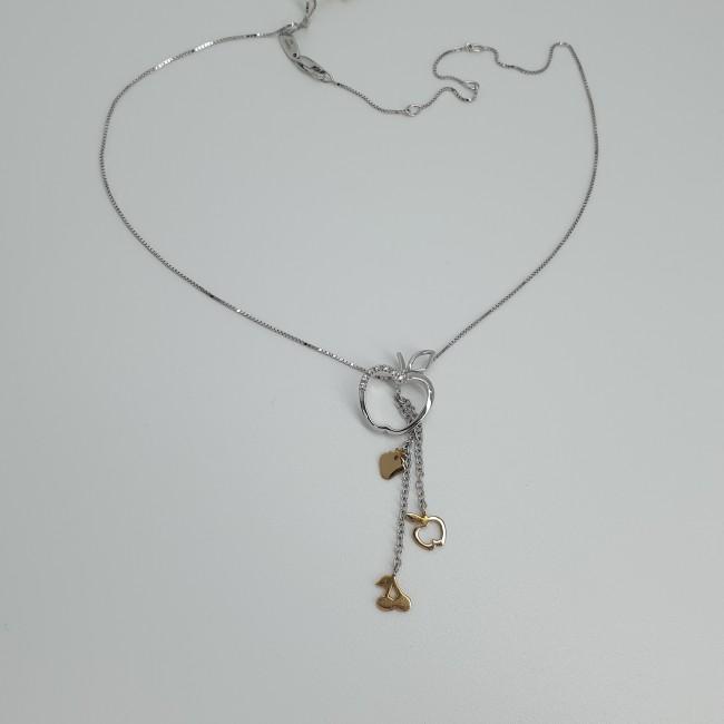 Davite-et-Delucchi-Collana-oro-bianco-e-giallo-con-pendente-mela-diamanti-taglio-brillante-Cln008128