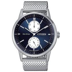 Citizen-orologio-uomo-eco-drive-metropolitan-acciaio-quarante-blu-bracciale-maglia-milano-bu302082l