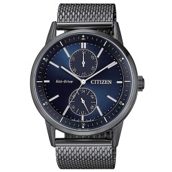 Citizen-orologio-uomo-eco-drive-metropolitan-acciaio-brunito-quarante-blu-bracciale-maglia-milano-bu302783l