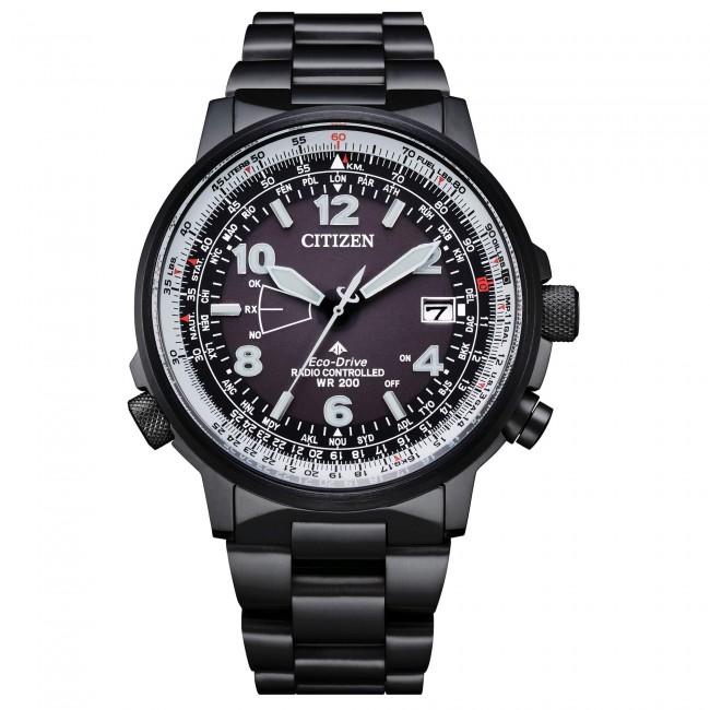 Citizen-Orologio-Pilot-Eco-Drive-uomo-radiocontrollato-cassa-bracciale-acciaio-brunito-quadrante-nero-cb024584e