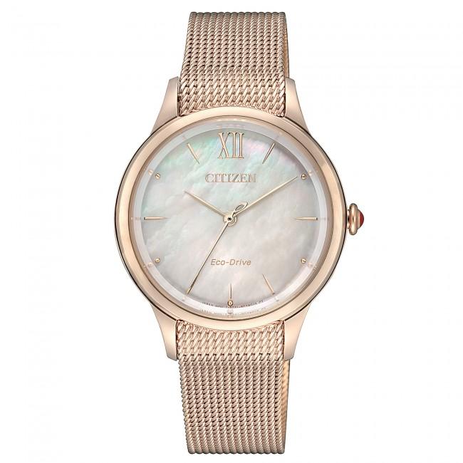 citizen-orologio-donna-eco-drive-acciaio-dorato-quadrante-tondo-madreperla-em081386y
