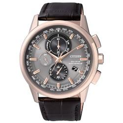 citizen-orologio-uomo-acciaio-dorato-eco-drive-cronografo-radiocontrollato-cinturino-pelle-marrone-at811312h
