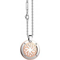 Zancan-Collana-acciaio-Collana-con-sole-medaglia rosa-acciaio-ehc143