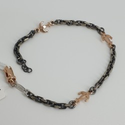 Marcello-pane-bracciale-argento-brunito-ancore-rosa