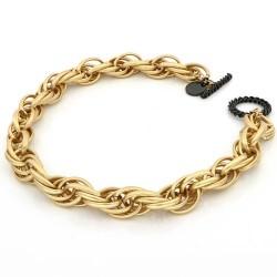 Unoaerre-Collana-bronzo-dorato-nero-maglia-corda-satinata-46cm