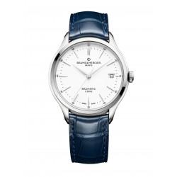 Baume-Mercier-clifton-Club-automatico-Orologio-uomo-quadrante-bianco-cinturino-intercambiabile-pelle-blu-m0a10398
