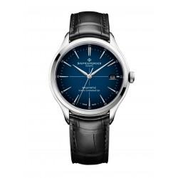 Baume-Mercier-Clifton-Baumatic-Automatico-Orologio-uomo-quadrante-blu-bracciale-nero-in-pelle-m0a10467