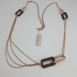 Marcello-pane-collana-argento-rosato-elementi-squadrati-marrone-bronzo-clit059r