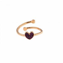 rue-des-mille-anello-aperto-argento-rose-cuore-zirconi-rossi