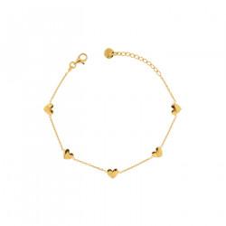 Rue-des-mille-bracciale-argento-dorato-catena-5cuori