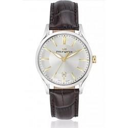 Philip-Watch-Orologio-da-uomo-Sunray-al-quarzo-cassa-acciaio-quadrante-silver-bracciale-pelle-marrone-R8251180004