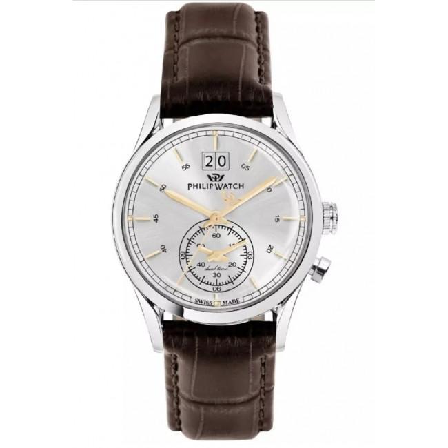 Philip-Watch-Orologio-da-uomo-Sunray-cassa-in-acciaio-bracciale-pelle-marrone-R8251180009