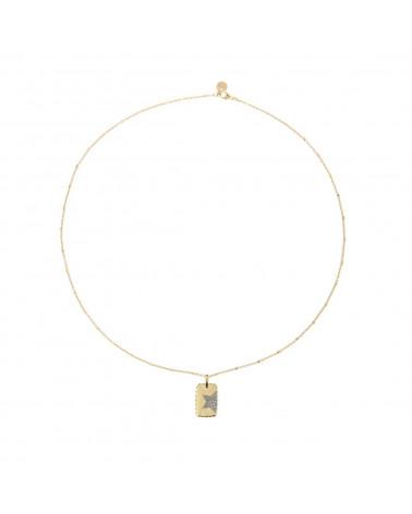 rue-des-mille-girocollo-argento-dorato-medaglia-rettangolare-stella-zirconi-bianchi