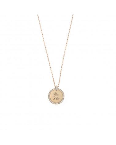 rue-des-mille-girocollo-argento-rosato-medaglia-tonda-yes-i-do-zirconi-bianchi