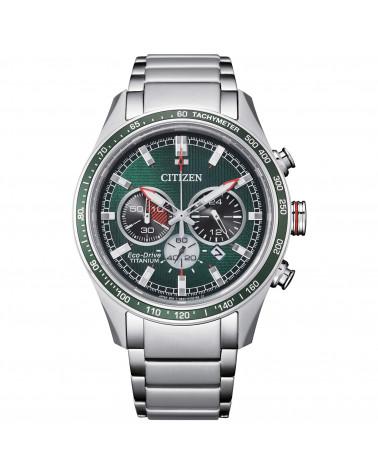 citizen-orologio-uomo-eco-drive-cassa-bracciale-super-titanio-crono-quadrante-verde-ca449786x