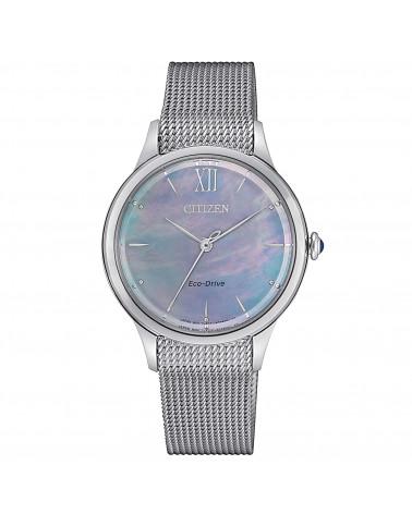 citizen-orologio-acciaio-eco-drive-l-tondo-quadrante-madreperla-nera-em081084n