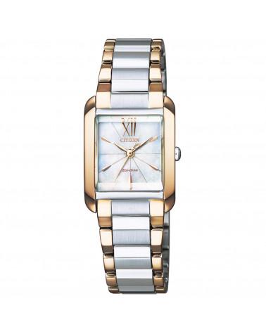 citizen-orologio-donna-acciaio-bicolore-eco-drive-lady-quadrante-madreperla-quadrato-ew555687d