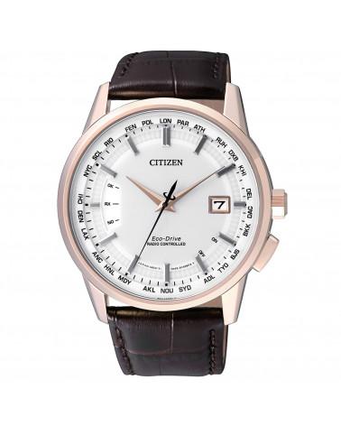 citizen-orologio-uomo-acciaio-dorato-eco-drive-e660-radiocontrollato-cinturino-pelle-marrone-cb015321a