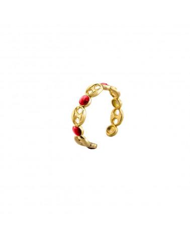 rue-des-mille-anello-aperto-argento-dorato-maglia-marina-smalto-corallo-aeanmmc