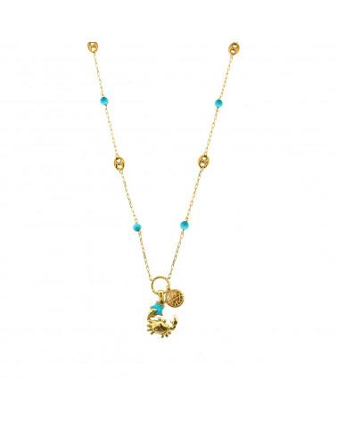 rue-des-mille-collana-argento-dorato-maglia-marina-sfere-turchese-granchio-pendente-aeclt